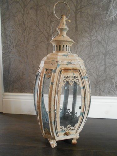 Distressed Cream Metal Lantern